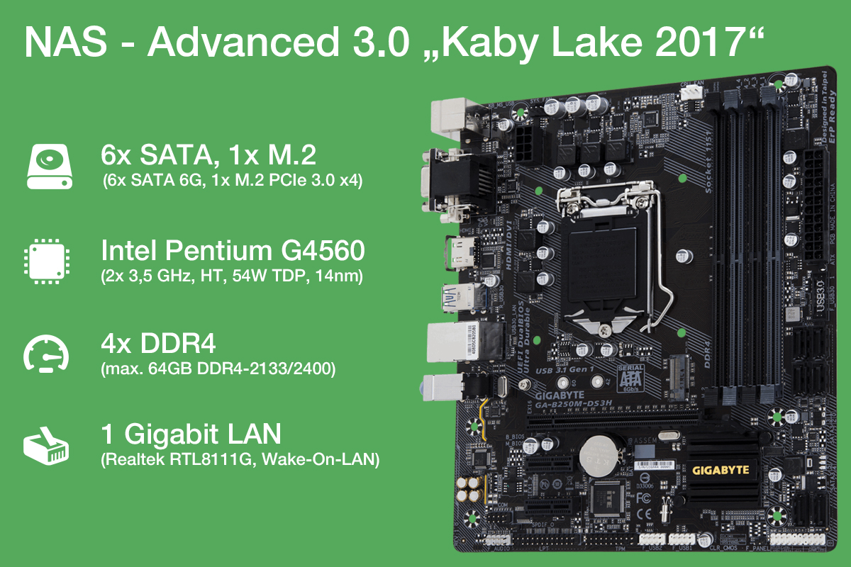 NAS Advanced 3.0 mit Kaby-Lake 4-Thread Pentium, 6x SATA und M.2