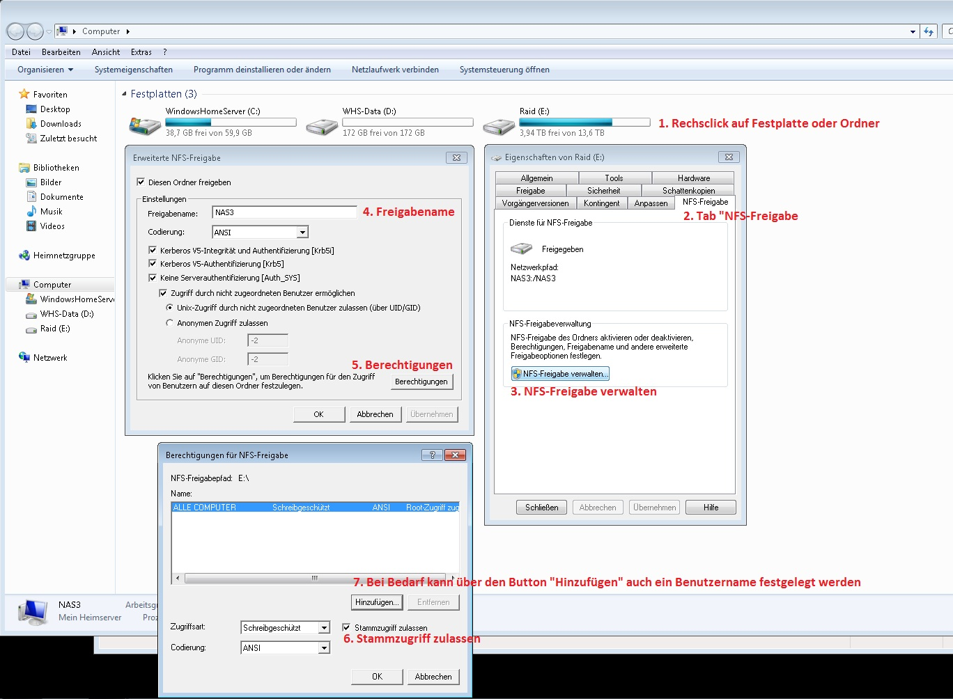 How to add NFS Share with Windows Server 2012R2?