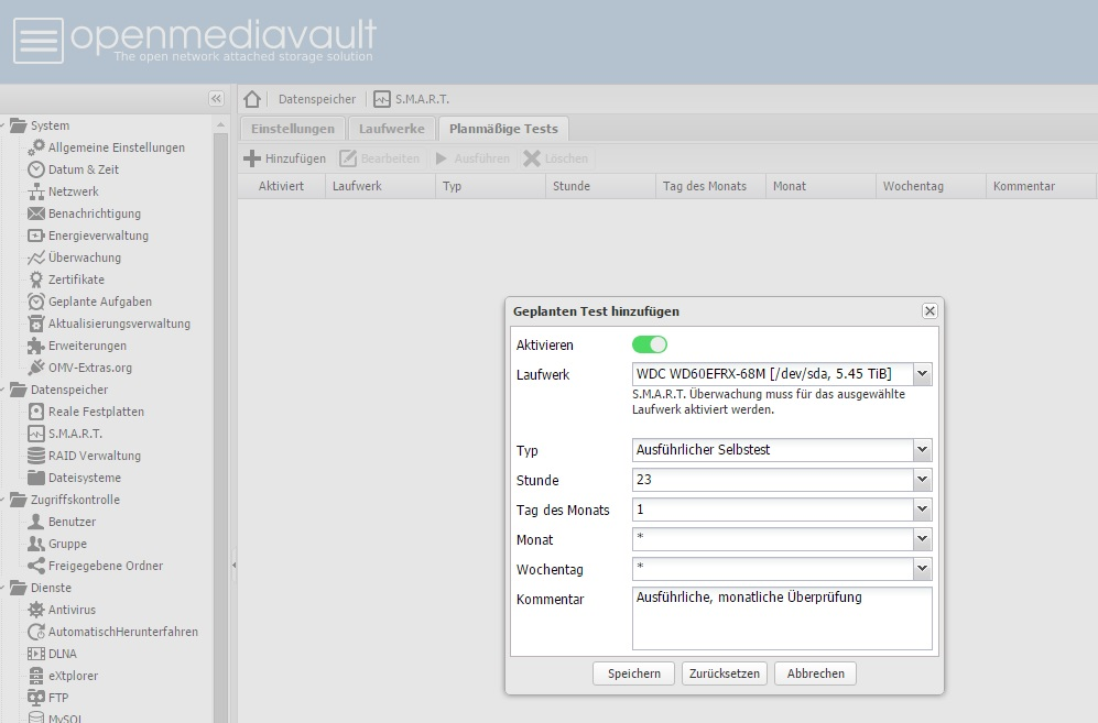OpenMediaVault 2.1.25 erweitert S.M.A.R.T. Features