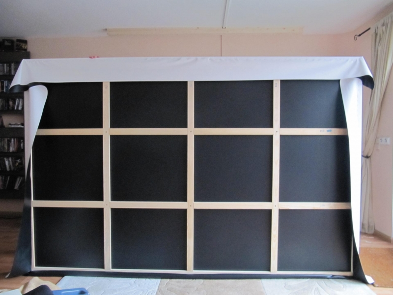 bau einer 16 9 heimkinoleinwand mit variabler magnetischer maskierung. Black Bedroom Furniture Sets. Home Design Ideas