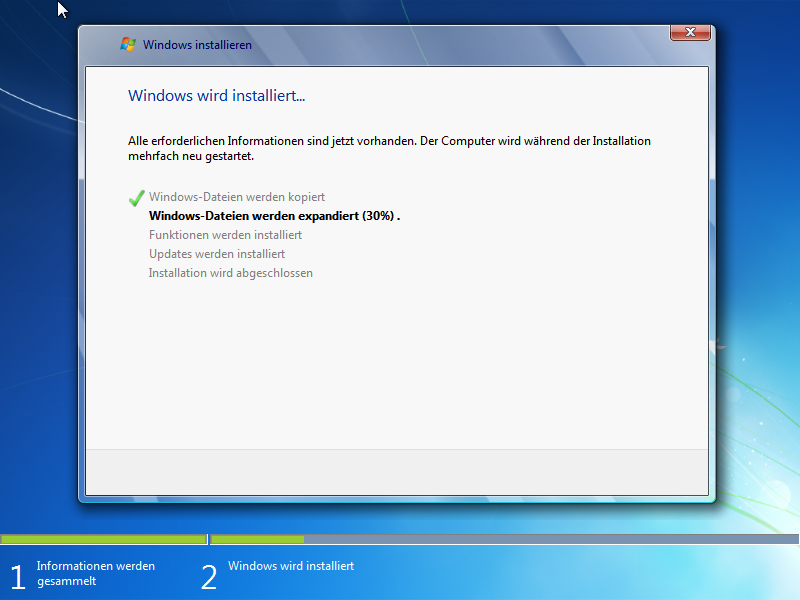 Windows 7 Neu- oder Erstinstallation