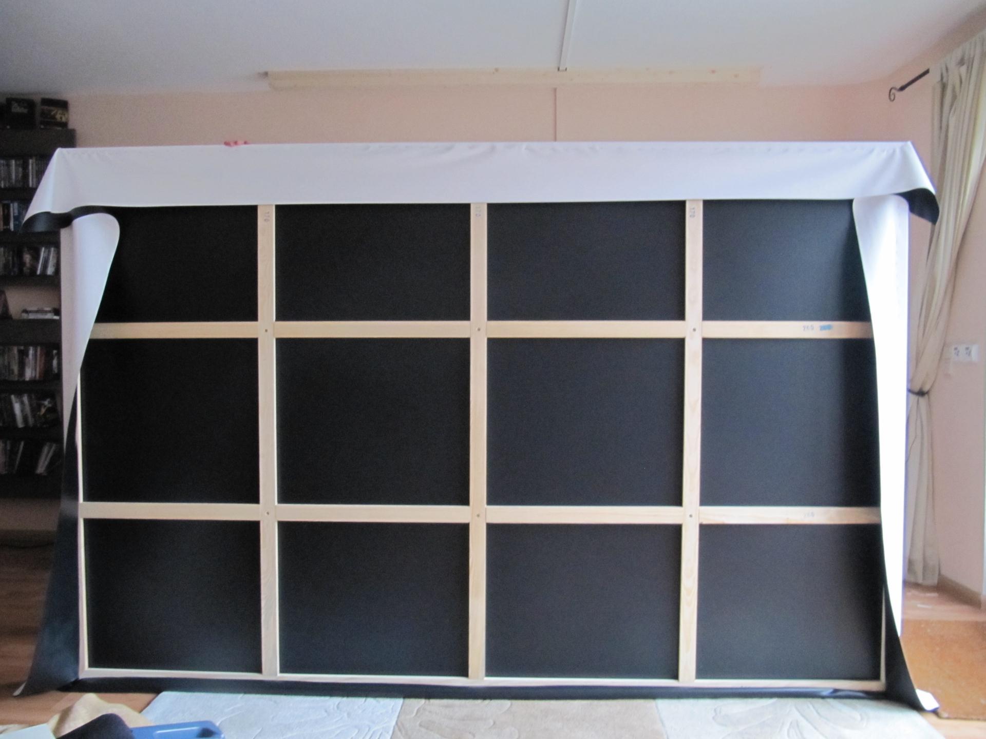 bau einer 16 9 heimkinoleinwand mit variabler magnetischer. Black Bedroom Furniture Sets. Home Design Ideas