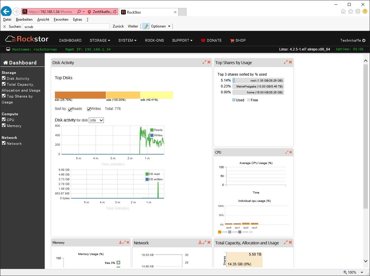Rockstor - Linux NAS Lösung auf CentOS 7 Basis mit Btrfs