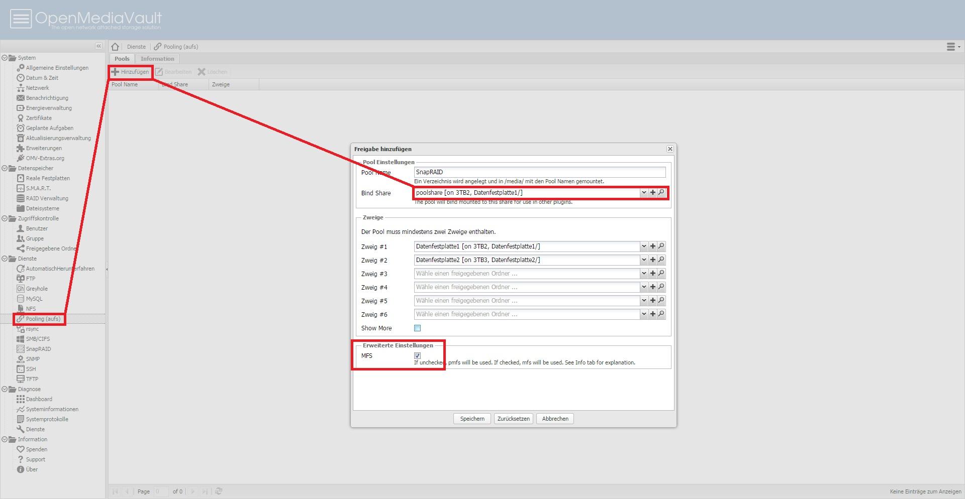 SnapRAID und AUFS unter OpenMediaVault als Raid 5/6 Ersatz