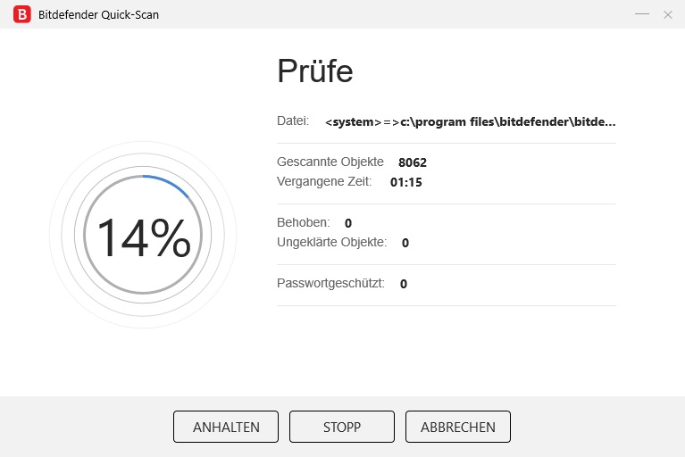 Der Bitdefender Qucik-Scan in Aktion
