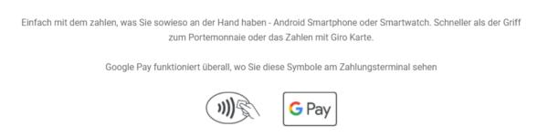 Wenn Sie dieses Zeichen im Supermarkt sehen, können Sie mit Google Pay bezahlen