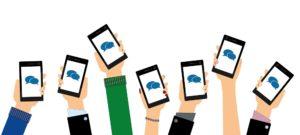 smartphones mit sprechblasen